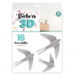 16 Decorative Stickers 3D Gray Swallows