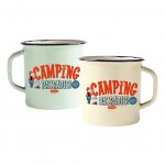 Set of 2 enamelled retro mugs