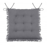 Chair cushion with fringes - Grey