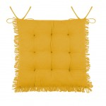 Chair cushion with fringes - Yellow