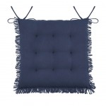 Chair cushion with fringes - Navy Blue