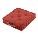 Cotton Floor Cushion Terracotta and Lin 45 cm