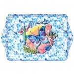 butterfly Small melamine tray - blue and white