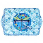 dragonfly Small melamine tray - blue and white