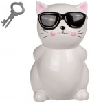 Cat with glasses savings bank 20 cm