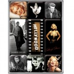 Marilyn Monroe, James Dean, Audrey Hepburn 9 mini-magnets