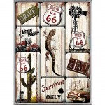 Road 66 set of 9 magnets
