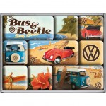 Volkswagen - Box of 9 mini-magnets enamelled