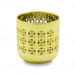 Glass Votive holder Heart and Home - metallic Yellow