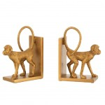 Set of 2 golden monkey bookends
