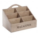 Wooden magazine rack - 6 compartments