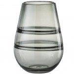 Double wall glass gray vase