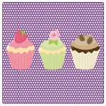 Set of 4 square coasters 3 cupcakes by Cbkreation