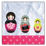 Set of 4 square coasters Russian dolls by Cbkreation