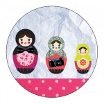 Set of 4 circle coasters Russian dolls by Cbkreation