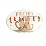 Cats Cutty door plate -  Toilettes