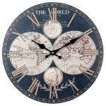 World Map large Clock - Brown and Beige