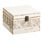 White wooden box - Aged appearance - Small model