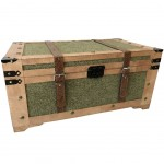 Colonial trunk suit green canvas 70 cm