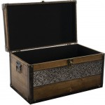Wooden chest with hammered metal band 45 cm