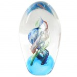 Blue Spiral Glass Paperweight