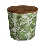 Bamboo pot - tropical leaf mix