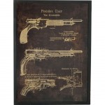 Wood and Glass Pistol Frame 80 cm