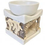 Elephants ceramic perfume diffuser - cream