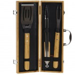 Bamboo and Stainless Steel 3-Piece Barbecue Set