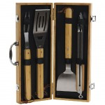 Bamboo and Stainless Steel 4-Piece Barbecue Set