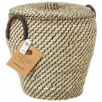 Braided straw basket with black straps