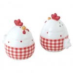 White and Red Chickens Set Salt and Pepper