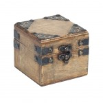 Square wooden box with metal stud decorations