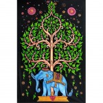 Batik wall hanging Elephant Blue under tree 75 X 115 cm