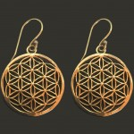 Flower of life earrings brass golden