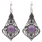 Silver and amethyst brass earrings
