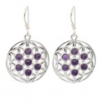 Earrings flower of life 925 silver with amethyst