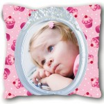 Cupcakes small white cushion with PERSONALIZED PICTURE