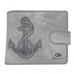 Purse Leather Purse - Navy Anchor - Gray